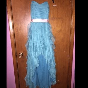 Blue high low ruffled PROM dress